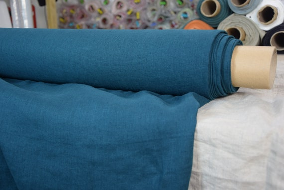 """Pure 100% linen fabric Gloria Slate Teal 190gsm (5.60 oz/yd2). Quite dark green-blue. Washed-softened. Widht 145cm (57"""")."""