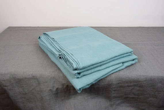 100% linen flat sheet. DUCK EGG bedding collection. Greenish-bluish color. Single, twin, double, queen, king, custom sizes. Stone washed.