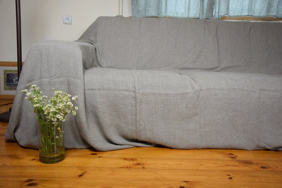 Astounding Couch Cover Pure 100 Linen Stone Washed Softened Standard Or Custom Dimensions Available Homespun Made To Order Natural Not Dyed Flax Inzonedesignstudio Interior Chair Design Inzonedesignstudiocom