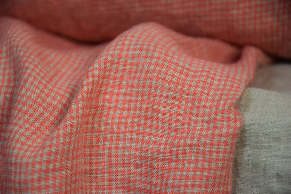 trousers Light weight For dresses dense skirts 100/% linen fabric 190gsm Red natur Checkered blouses
