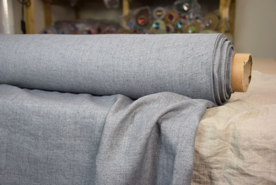 Pure 100% linen fabric Brava Gray Faded Denim 210gsm. Gray/grey melange denim.  Medium weight and thickness, pre-washed, softened.