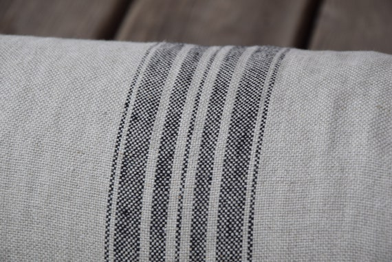 Eco-friendly heavy thick material. WashedPre-shrunk 100/% linen fabric Pera Brown Stripe 350gsm French grain sack pattern