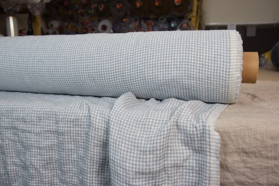 Pure 100% linen fabric Augusta Cashmere Blue Gingham 150gsm. Washed-softened.