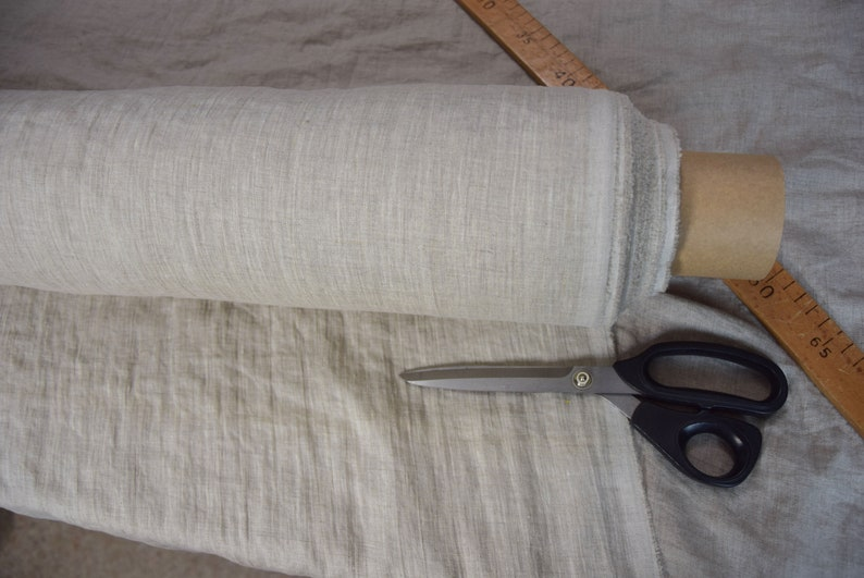 Pre-washed Pure linen fabric Aura Beige Melange 125gsm softened. Pale gray melange made from white and not dyed flax