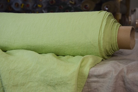 Pure 100% linen fabric Regina Lily Green 130gsm. Pastel light greenery color. Light weight, washed, softened.