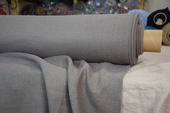 Pure 100% linen fabric Mira Sparrow Gray 370gsm. Medium darkness, warm undertone.  Heavy, thick, soft canvas. Washed-softened.