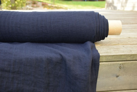 Pure 100% linen fabric Sigma Navy Herringbone 230gsm(6.80oz/yd2). Washed-softened. Pre-shrunk. Extra soft.