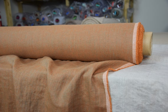 Pure 100% linen fabric Margarita Tawny 190gsm. Brownish-orange melange made from orange and light blue. Washed-softened.