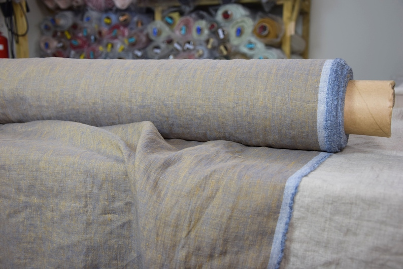 Washed-softened. copperblue colors Melange Pure 100/% linen fabric Margarita Blue Copper 190gsm