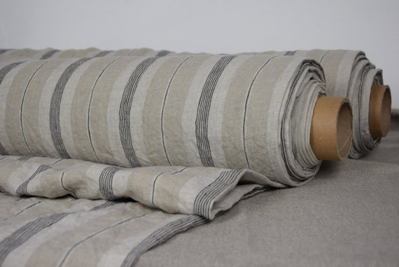 """SWATCH (sample) 12x12cm (5x5""""). Pure 100% linen fabric Elba Natural Striped 200gsm. Undyed flax, black, off-white stripes. Washed-softened."""