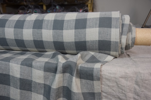 Pure 100% linen fabric Margarita Chessboard Check Gray/Flaxen 190gsm. Dark gray and light brownish gray 4.50cm checks. Washed-softened.