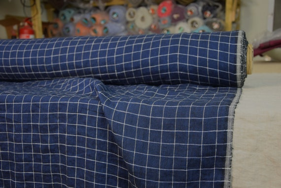 Pure 100% linen fabric Margarita Navy Graph Check 195gsm (5.70oz/yd2). White grid pattern on dark blue. Washed-softened.