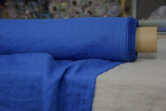 Pure 100% linen fabric Gloria Clasic Blue 190gsm. Medium weight, densely woven, washed-softened.