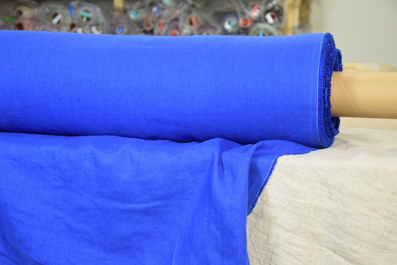 Pure 100% linen fabric Gloria Brilliant Blue 190gsm. Bright vivid blue color. Middle weight and thickness, washed, softened, densely woven.