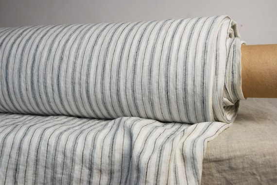 Pure 100% linen fabric Regina Shadow Stripe 130gsm. White & black/brown, striped. Washed-softened.