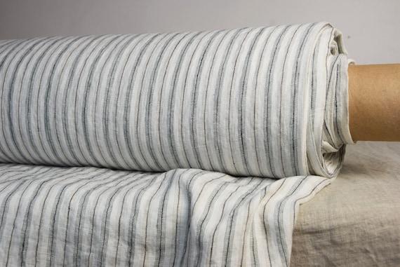 "SWATCH (sample) 12x12cm (5x5""). 100% linen fabric Regina Shadow Stripe 130gsm. Washed-softened."