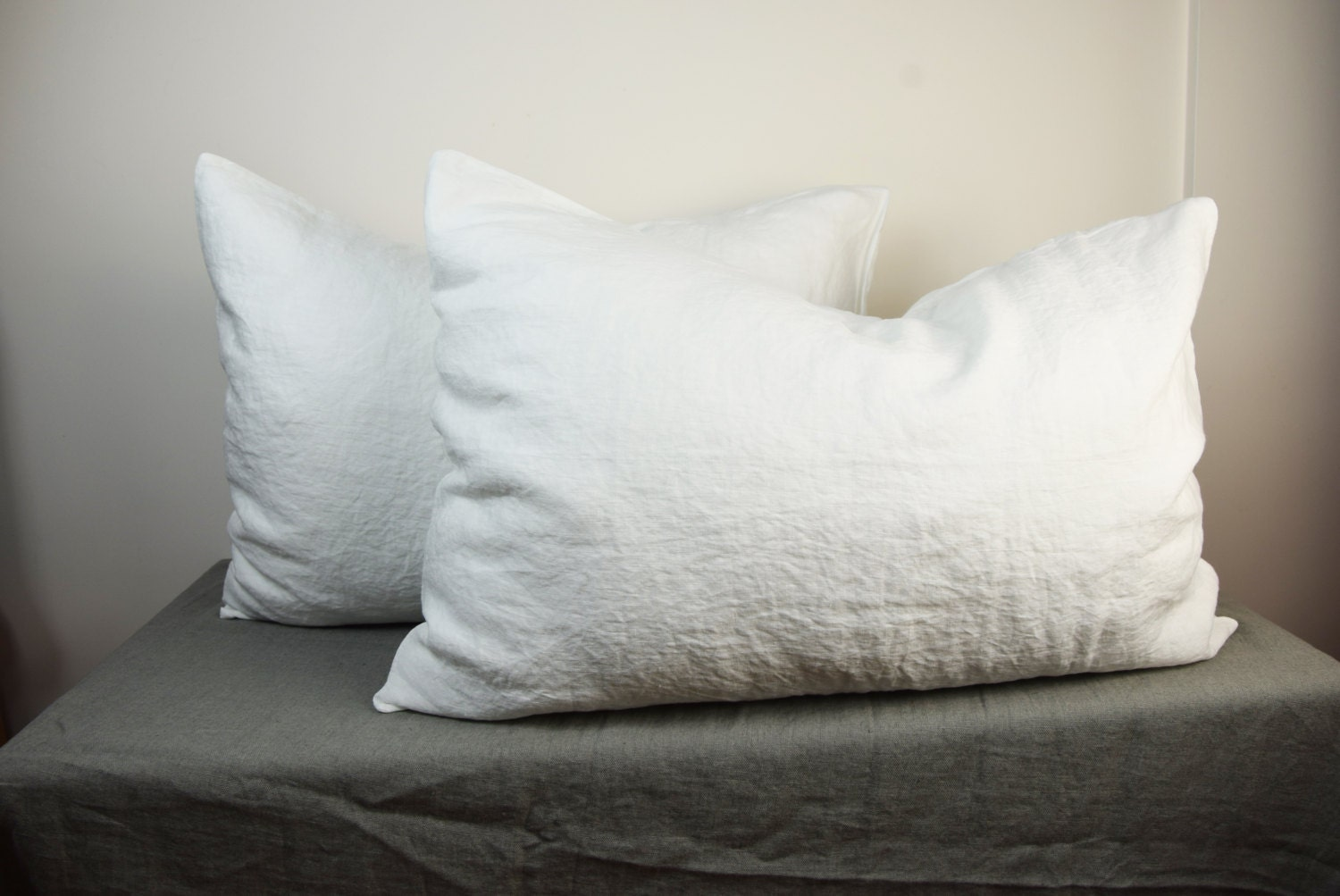Pair Of 100 Linen Pillow Covers Milk Bedding Collection Off White Color Standard Queen King And Other Custom Sizes Stone Washed