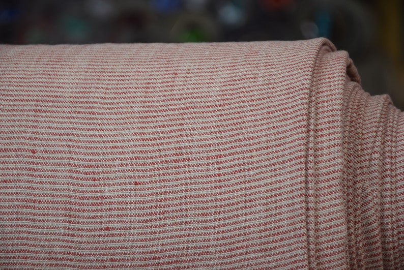 red and natural not dyed flax Washed and softened. Pure 100/% linen fabric Hera Red Pencil Stripes 260gsm Horizontal pinstripes