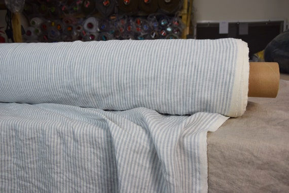 Pure 100% linen fabric Aura Cashmere Blue Striped 125gsm. White / light soft blue stripes 3mm. Thin, washed-softened.
