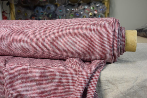 Pure 100% linen fabric Terra Red/Blue Gingham 210gsm. 2mm vichy checks, light blue/red. Washed-softened.