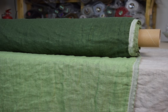 Pure linen fabric Vita Nature Moss Green 230gsm (6.80oz/yd2). Fluffy double-faced, two sided. Washed-softened.