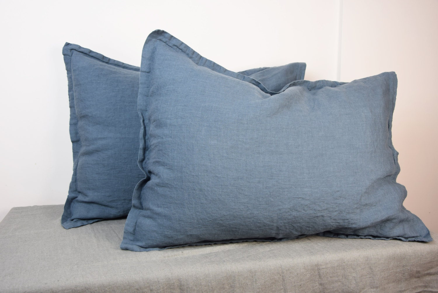 Pair Of 100 Linen Pillow Shams Blue Shadow Bedding Collection Blue Grey Gray Color Standard Queen King And Other Custom Sizes