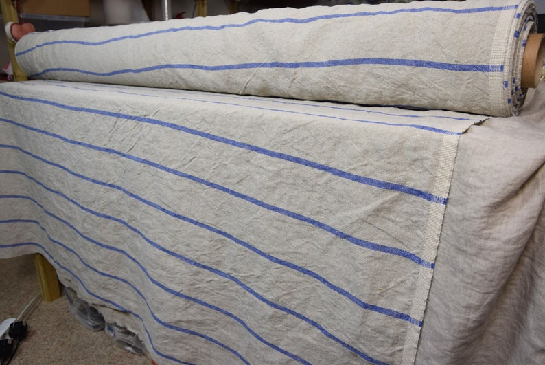 Stripes At Each 8cm Washed Softened Heavy Pure 100 Linen Fabric Pera Breton Stripes Blue 350gsm