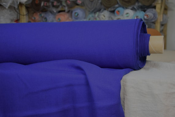 Pure 100% linen fabric Gloria Vivid Indigo 190gsm (5.60oz/yd2).  Washed-softened, pre-shrunk.