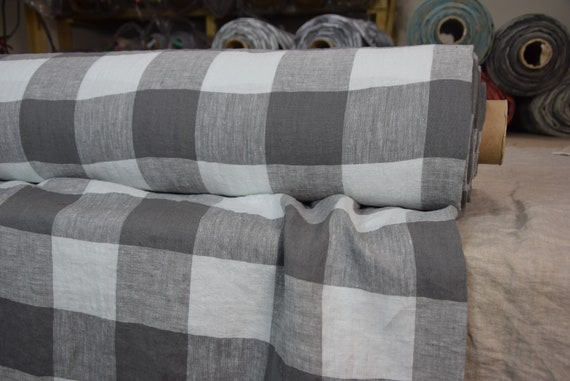 Pure 100% linen fabric Margarita Gameboard Pattern Mushroom Gray 190gsm. Dark brownish-gray and light gray 8cm checks. Washed-softened.