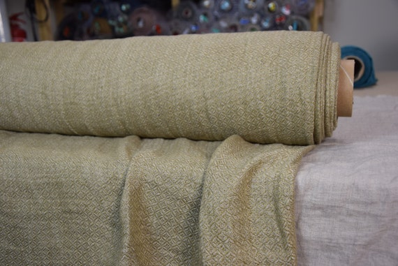 Pure 100% linen fabric Prima Barley Harvest Brown 250gsm. Earthy, quiet beige-tan brown color. Woven diamond pattern. Washed-softened.