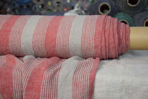 Pure 100% linen fabric Aurora Red Striped 165gsm. Red wide stripes on undyed flax background. Washed-softened.