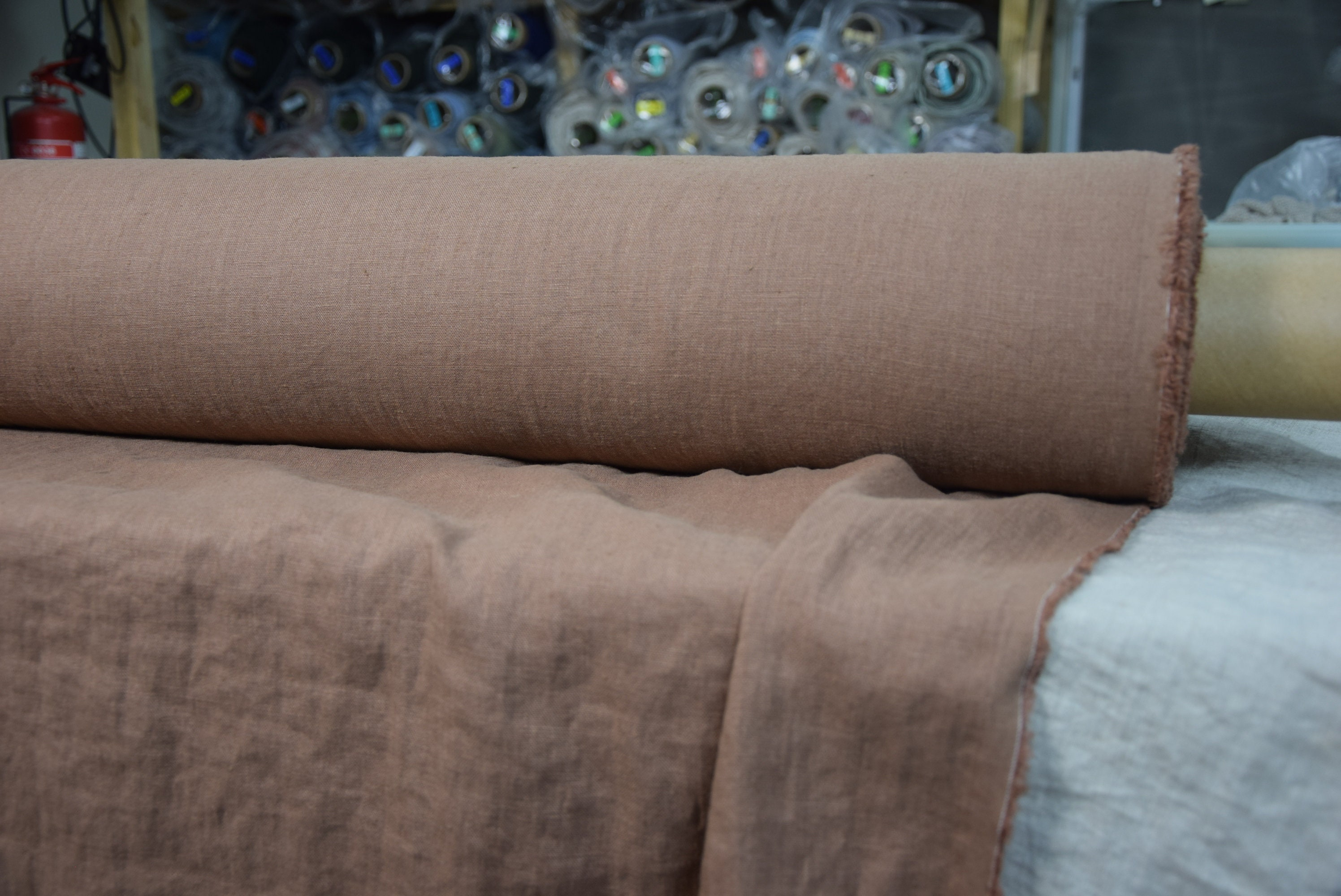 Pure 100 Linen Fabric Gloria Cocoa Brown 190gsm Medium Thickness Densely Woven Washed Softened