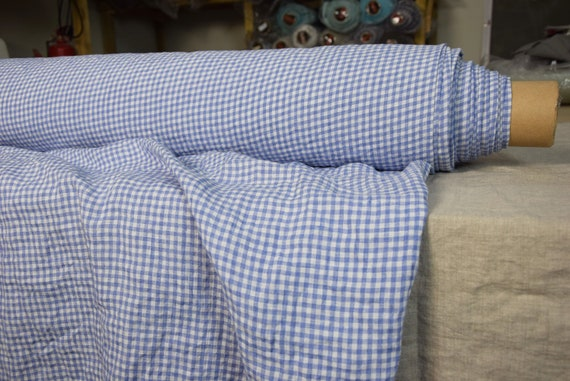 Pure 100% linen fabric Aurora Iris Blue Gingham 160gsm(4.80oz/yd2). Small 4mm vichy check. Washed-softened, pre-shrunk, naturally wrinkled.