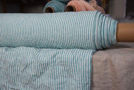 Pure 100% linen fabric Aurora Aloe Green Candy Stripe 160gsm(4.80oz/yd2). 4mm stripes. Washed-softened, pre-shrunk, naturally wrinkled.