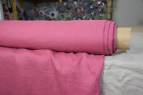 Pure 100% linen fabric Gloria Paradise Pink 190gsm. Bold deep pink, a noticeable blue undertone. Washed-softened.