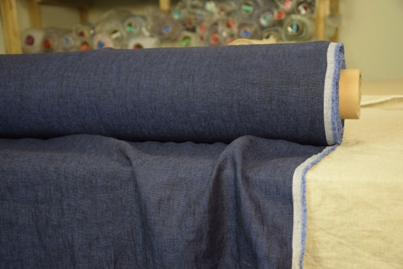 Pure 100% linen fabric Silva The Darkest Royal Blue 160gsm. Saturated navy melange woven from black and dark blue threads. Washed-softened.