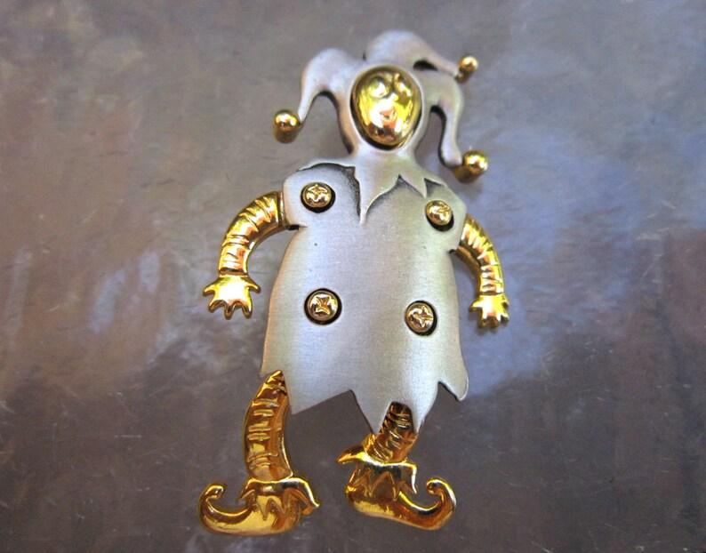c19b6c4fe Vintage JJ dancing jester brooch articulated brooch silver   Etsy