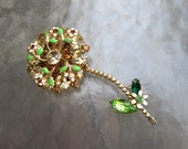 Vintage signed Weiss rhinestone and enamel flower brooch from estate