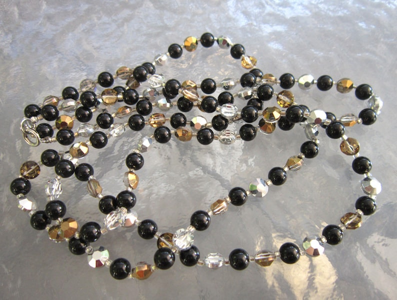 silver gold estate jewelry glass beads black sparkling clear Vintage long beaded necklace
