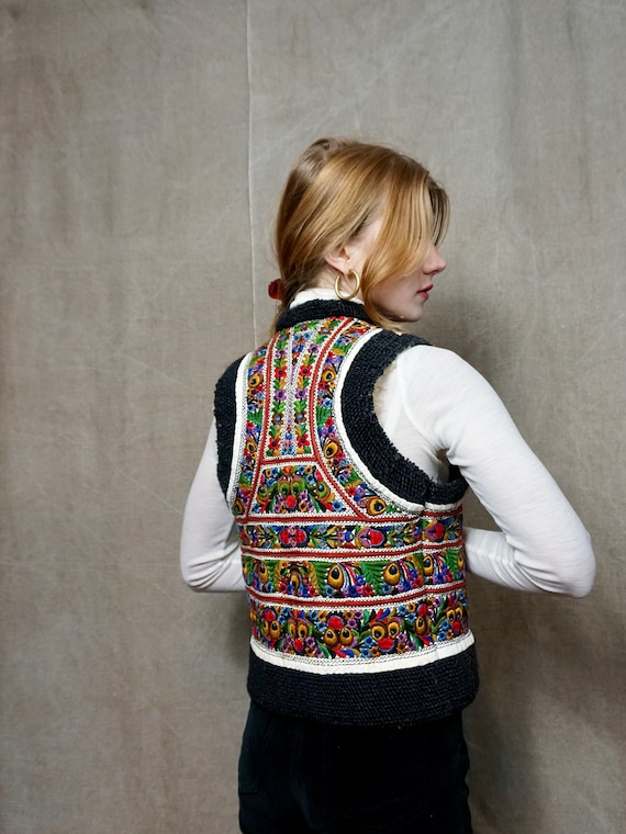 Beautiful vintage shearling embroidered waistcoat