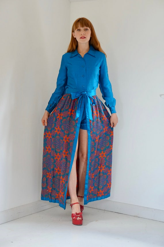 Vintage 1960s silk playsuit and woven floral maxi