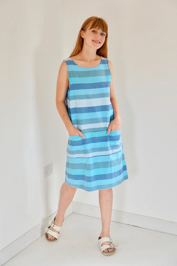 1970s cotton dress stripe dress