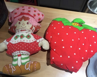 Vintage RARE Collection of 1980s Handmade Hand Sewn from Pattern Strawberry Shortcake Strawberry with Lady Bug & Chick Farmer