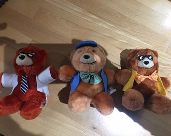 RARE Vintage 1980s Ted E Bear Teddy Bear Set of 3 Suit Glasses Hat Bow ties