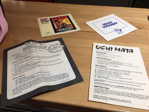 Rare 1988 Commodore 64/128 Joystick Required Kick Butt and Slam Games Rambo  Fist Uchi Mata Usagi Yojimbo