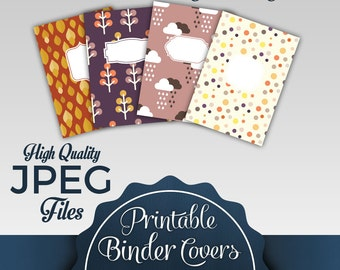 Autumn Design Custom Binder Covers: 4 Different Styles |3 Different Spine Sizes for Each Style