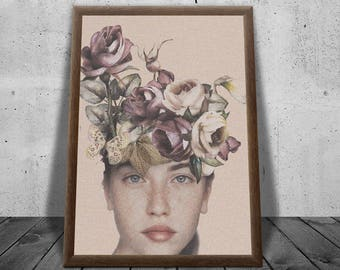 Flower Girl | Wall Art | Contemporary art Print | Direct Download | Home Decor