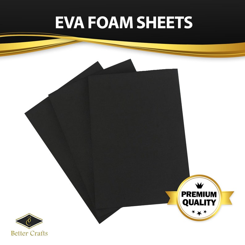 Black EVA Foam Sheet, 9 inch x 12 inch, 6mm- Thick! Great for Crafts!