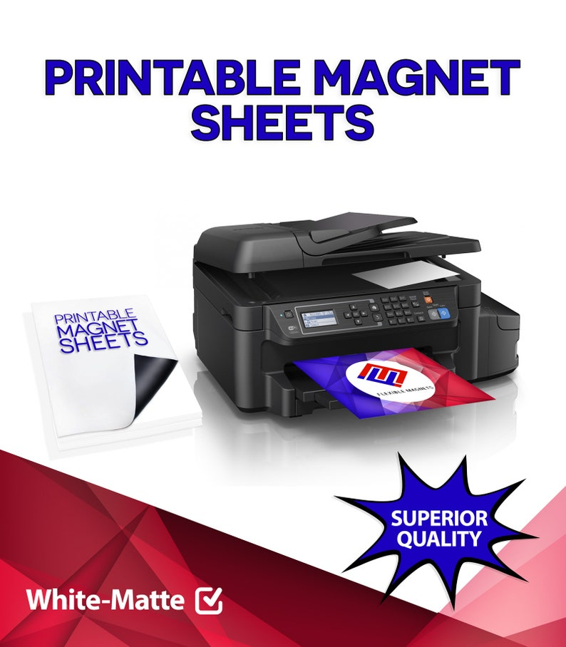 photo relating to Printable Magnetic Sheeting referred to as Printable Magnet Sheets, 8.5 X 11 Inches, White, Style and design Print Magnetic Sheets for Inkjet Printers- 15 Mil Thick!