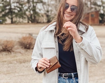 The Brooke genuine leather small wristlet wallet.